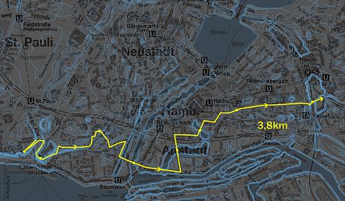 Wegstrecke quer durch die Hamburger Innenstadt --- wegstrecke-1