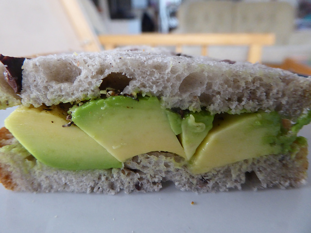 Who's for an avocado and olive bread sandwich? (Forget the diet: it's Easter Saturday!)