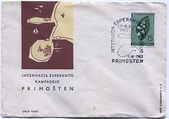 Koverto pri la populara Esperanto-kampadejo en Primoŝteno (Jugoslavio, 1963)
