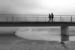 Walking in overcast