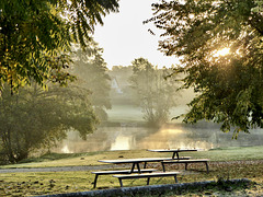 Early morning picnic benches