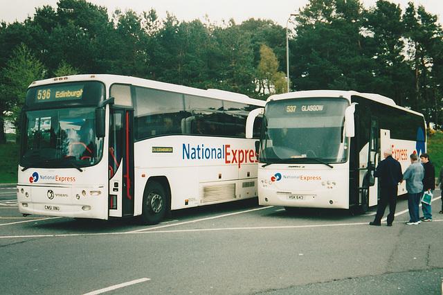 Bebb Travel CN51 XNU and Park's of Hamilton HSK 643  at Tebay - 4 May 2004