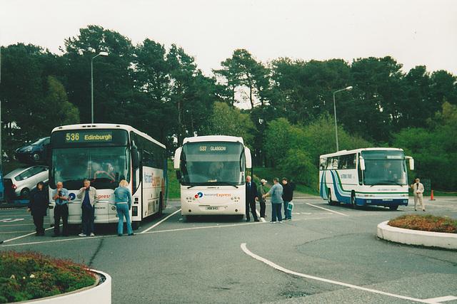 Bebb Travel CN51 XNU, Park's of Hamilton HSK 643 and Ulsterbus ACZ 6692 at Tebay - 4 May 2004