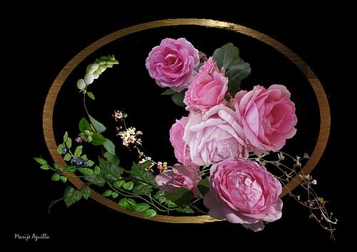 Compo rosas bayas fondo negro