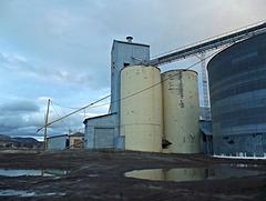 Grain silos in winter
