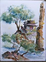 Aquarelle : Temple