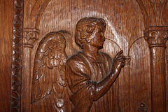 Detail of door in chancel, St Mary and St Michael's Church, Great Urswick, Cumbria