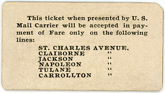 New Orleans and Carrollton Railroad Ticket, Good for One Ride by U.S. Mail Carrier (Verso)