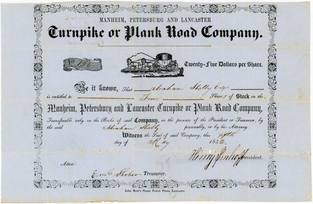 Manheim, Petersburg, and Lancaster Turnpike or Plank Road Company, Stock Certificate, Lancaster County, Pa., 1852