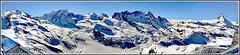 Zermatt : grande panoramica dal Monte Rosa al Cervino - 3200 mt.