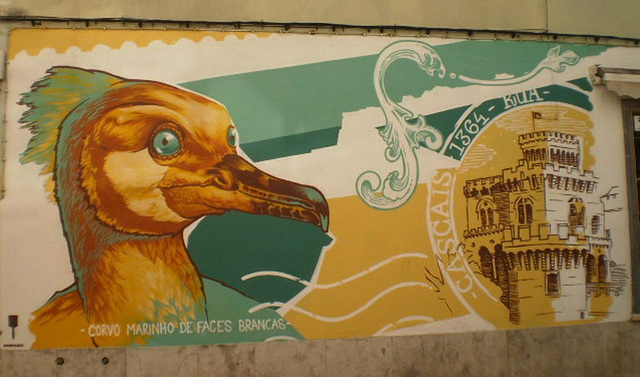 White cheeked cormorant - mural by Third.