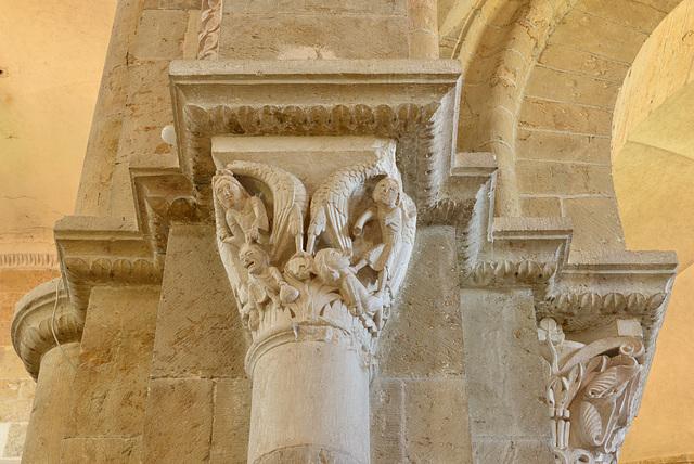 Vezelay, chapiteau, Le châtiment de l'avare et du calomniateur