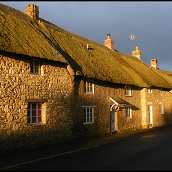 sunlit thatch in a stormy sky