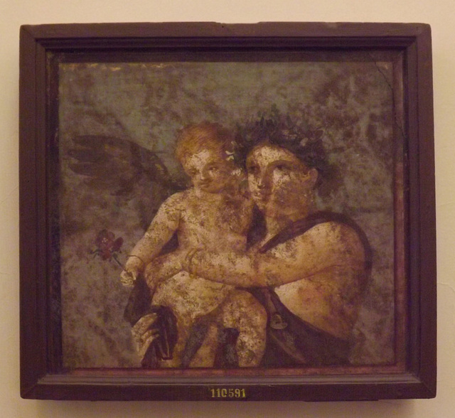 Maenad and Cupid Wall Painting from the House of Caecilius Iucundus in Pompeii in the Naples Archaeological Museum, July 2012