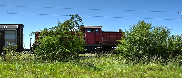 V100 vor schwerem Güterzug