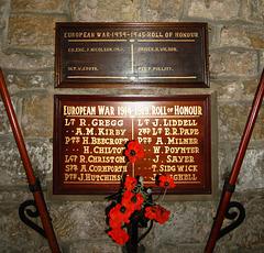 War Memorial, Osmotherley Church, North Yorkshire