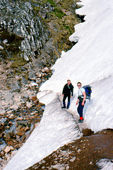 Alan and Steve near The Red Burn,Ben Nevis Path 16th May 1994.