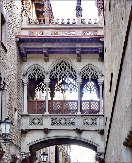 Barcellona : Una stretta via sul lato della cattedrale gotica