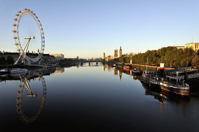 The London Eye, Westminster Bridge, Houses of Parliament and the river Thames