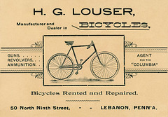 H. G. Louser, Manufacturer and Dealer in Bicycles, Lebanon, Pa.