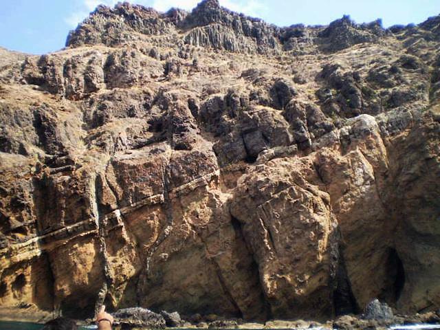 Coastal erosion reveals magma tunnels.
