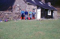 Alan,Malc, Jim and Neil at Shenavall Bothy 13th May 1996.
