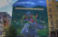 Bicycle mural in Bergen