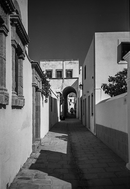Quiet part of Lindos in monochrome for B&W Friday