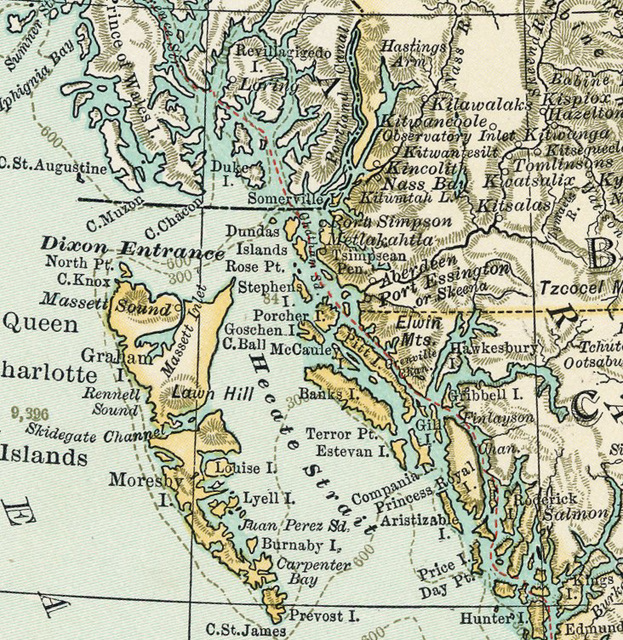 1898 Map of British Columbia and Inside Passage Near Dixon Entrance