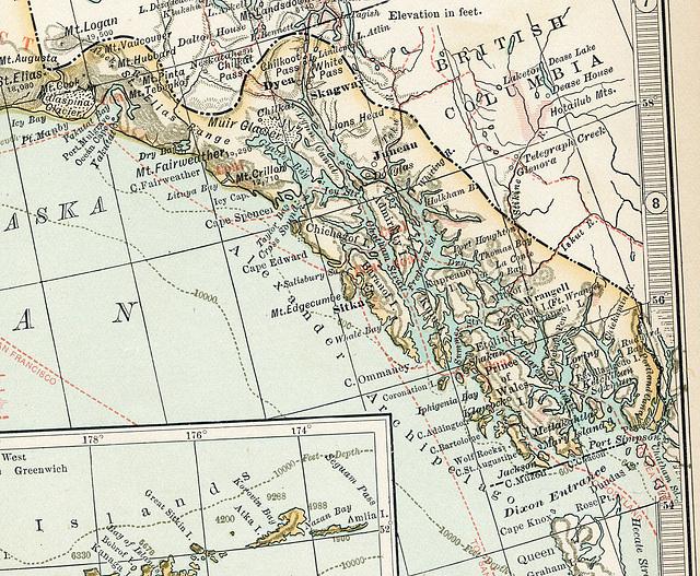1898 Map of Alaska Showing Panhandle Area