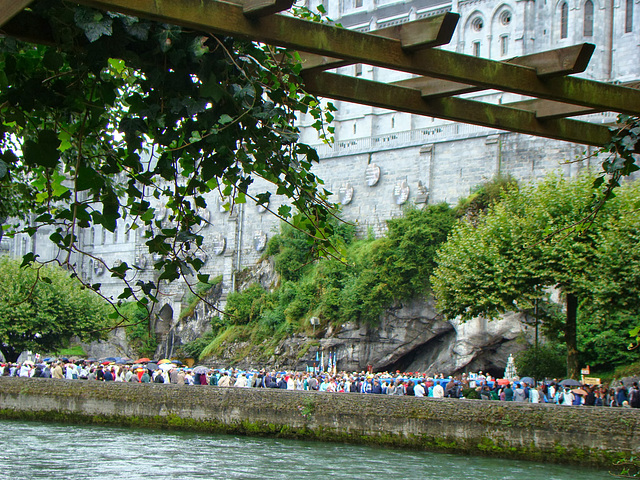 Lourdes The Grotto of Our Lady's apparitions*by Cathy Cotte**Viewed from tha other side of Le Gave depuis la Prairie