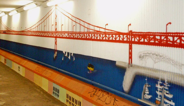 Bridge and marina.