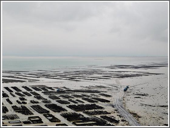 Vue vers les parcs d' huîtres à Cancale (35) avec note