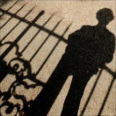shadow in front of the gate