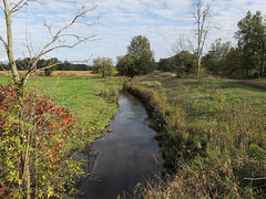 A picture of me enjoying a fine view of Tallahassee Creek in areas of pastureland and farmland in southern Michigan on a partly sunny day in autumn.