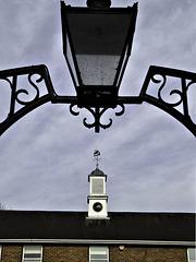 Clock tower, wind vane, lamp