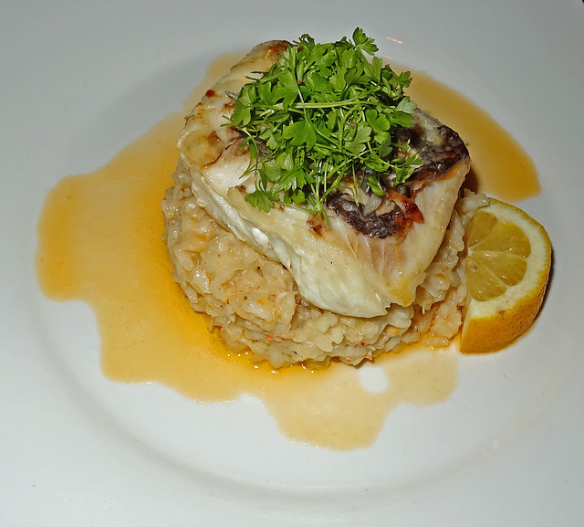 Hake with crab rissotto
