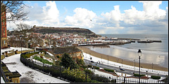 Scarborough Castle and Harbour in Winter