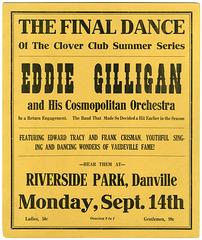 Eddie Gilligan and His Cosmopolitan Orchestra, Riverside Park, Danville, Pa., Sept. 14, 1925