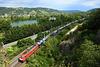 Traxx rouge dans la vallée du Rhône