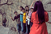 Chinese young tourists on the Great Wall
