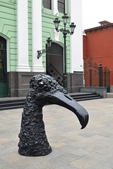 Lima, Sculpture of the Condor's Head in front of House of Peruvian Literature