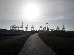 Containerterminal vom Deich
