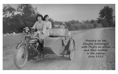 Marjory, Phyllis & their mother on a Douglas motorcycle c1925
