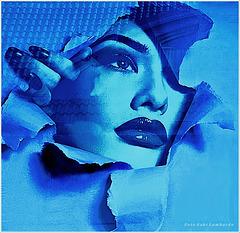 blue paper lady