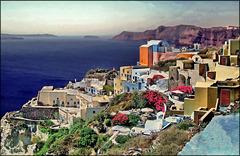 Santorini : Fiori e colori a Oia - (962)