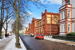 Schwerin, August-Bebel-Straße mit ehemaligem Fridericianum