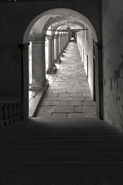 From dark to light of the cloister - Oropa, Biella