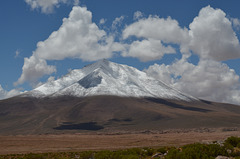 Bolivian Altiplano, Fresh Snow at the Mountain Peak