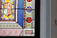 Detail of stained glass in council chamber, Former Town Hall, High Street, Lowestoft, Suffolk